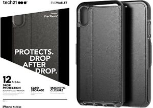 NEW Tech 21 Evo Wallet Drop Protection Case for iPhone XS MAX - BLACK