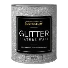 Rust-Oleum Super Sparkly Sparkling Silver Glitter Feature Wall Paint 1L
