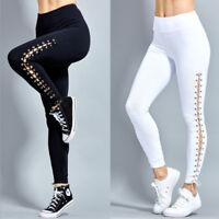 Women Pants Trousers Leggings Lace Up Elastic Waist Tie Up Active Leggings
