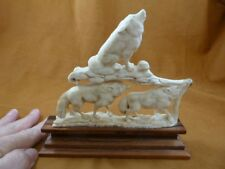 wolf-16) white Wolf pack of 3 wolves shed Antler figurine Bali detailed carving