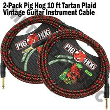 2 PIG HOG TARTAN PLAID 10ft GUITAR INSTRUMENT BASS PATCH CABLE 1/4 CORD PigHog