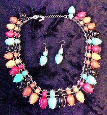 Turquoise Coral Brown Black Squash Blossom Choker Silver Statement Necklace Set