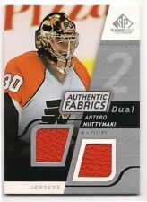 Antero Niittymaki 08-09 UD SP Game Used Authentic Fabrics Dual Game Worn Jersey