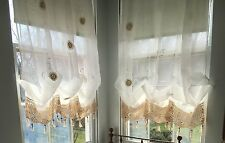Shabby Chic WHITE Balloon Curtains, Drawnwork + Hand Crochet French Pinch Pleat