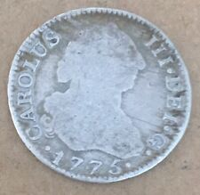 SPAIN 1775 M MADRID 2 REAL CHARLES III SPANISH COLONIAL SILVER COIN 5.62 GRAMS