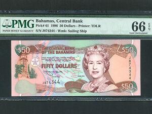 Bahamas:P-61,50 Dollars,1996 * Queen Elizabeth II * PMG Gem UNC 66 EPQ *