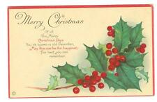Merry Christmas  Stecher Lithography unused postcard