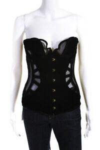 Agent Provocateur Womens Velvet Sheer Lace Up Corset Lingerie Black Size 3