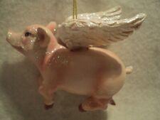 """Kurt S Adler """"RESIN FLYING PIG ORNAMENT"""" ~ NEW ~ GLITTERY ~ TOO CUTE!!!"""
