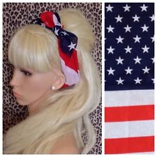 USA Drapeau Américain Coton Bandana Tête Cheveux Foulard Retro Rockabilly Pin Up
