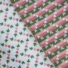 Vtg Woven Upholstery Fabric Little Pink Hearts Green Leaf on Satin Off White
