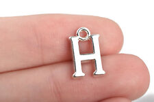 8 Letter H Charms Silver Plated monogram 15mm, chs2591
