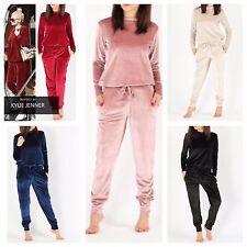New Womens Ladies Velour Velvet Loungewear 2 Piece Tracksuit Plus Size 8-26 UK