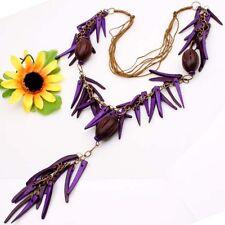 """Purple Coconut Shell Stick Pepper Drum Beads Pendant Long Necklace 30""""L 1pcs"""