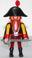 PIRATEN KAPITÄN mit seltenem Bart Playmobil zu Säbel Zweispitz Umhang Schiff 763