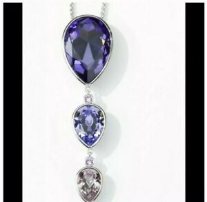 Touchstone Crystal by Swarovski Pear Drop Purple Pendant Necklace New