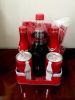 Vtg Coca Cola Tin Napkin Holder Picnic Pack With Assorted vintage Bottles