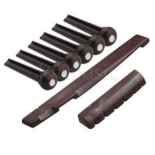 Set Acoustic Guitar Saddle Nut Bridge Pins Coffee Plastics