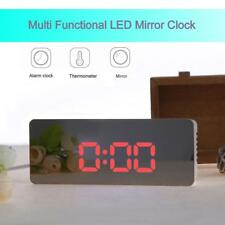 Digital Funk Wecker Alarm Alarmwecker LED Tischuhr Thermometer Snooze Spiegel
