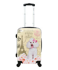 "CHARIOT Yellow Paris DOG POODLE HARDSIDE LUGGAGE SPINNER 20"" CARRYON SUITCASE"
