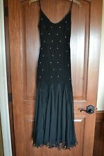 Womens Dress Black Sheer Sexy Strap Long Formal Party Gown Prom Wedding Sz 4 EUC