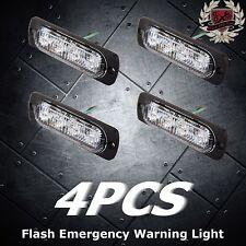 4pcs 2W Super Bright Amber 4-LED Flash Emergency Hazard Warning Strobe Light Bar