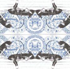 2 Serviettes en papier Chat porcelaine - Paper Napkins Black Cats with China