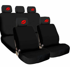 For BMW New Car Truck Seat Covers Red Kiss Lip Headrest Black Fabric