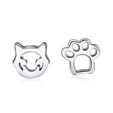 1 Pair Cute Animal Paw Cat Footprint Studs Earrings 925 Sterling Silver Jewelry