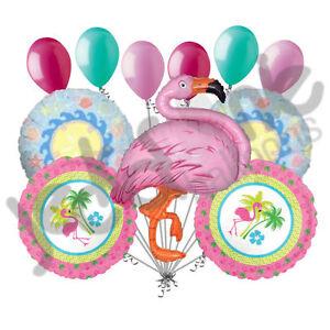 11 pc Pink Flamingo Fun & Hibiscus Balloon Bouquet Party Decoration Luau Flowers