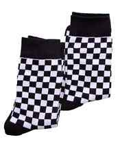 Warrior Clothing Men's 2 Pack Two Tone Check Socks Black And White