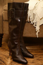 Circa Joan & David BROWN Leather Stiletto High Heel Knee High BOOTS 10 M EEUC
