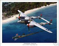 """P-38 Lightning """"Battle Axe"""" WW II Aviation Art Print"""