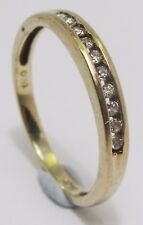 100% Genuine Vintage 9ct  Solid Yellow Gold 0.05 cts Diamond Eternity Ring Sz 4