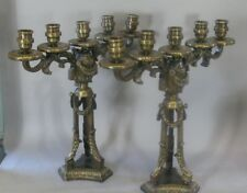 Pair of Heavy Antique French Gilt Bronze Candelabra  c. 1900  38 Lbs.