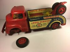 Vintage Old Tin WYANDOTTE TOW TRUCK Pressed Steel Toy Wrecker ASIS 4 Parts RARE