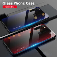 Luxury Gradient Hard Case Tempered Glass Back Cover For Xiaomi Redmi Note 8/8Pro