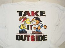 Vintage Garfield and Odie Take it Outside 90s Street Wear Long Sleeve T Shirt XL