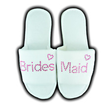 PERSONALISED SLIPPERS DIAMANTE WEDDING SPA GUEST SHOE TOWELLING PINK & HEART