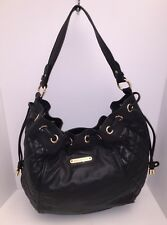 Juicy Couture Quilted Black Gold Faux Leather Handbag