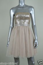 Aqua New Beige Sequin Tulle Strapless Cocktail Party Dress MSRP $188 Size 2