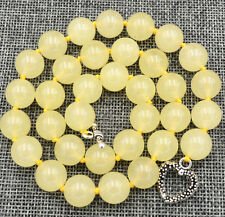 "New 12mm Brazil yellow jade Necklace 18"" Tibetan silver love clasps"