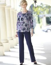 """Ladies Mock Suede Tailored Trousers- Length 27"""" -Navy Blue- PLUS Size UK 30-NEW"""