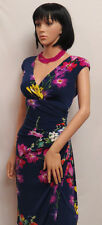 RALPH LAUREN Navy with Multi Color Flower Stretch Sleeveless Dress 8 NWT