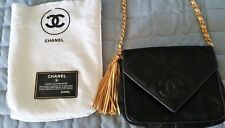 Authentic CHANEL Bag - Black Quilted Fringe Tassel Bag - Gold Leather Chain