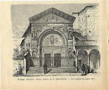 Stampa antica PERUGIA Oratorio di San Bernardino Umbria 1894 Old antique print
