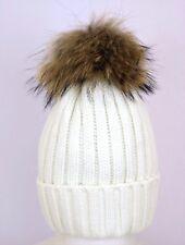 Ladies Real Fur Pom Pom Hat Beanie Winter Cap Raccoon Good Quality Women Hats