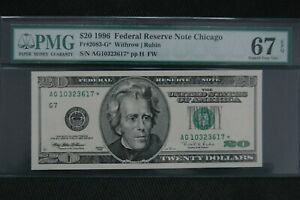 1996  $20 Fr 2083-G* PMG 67 EPQ Chicago Superb Gem Uncirculated
