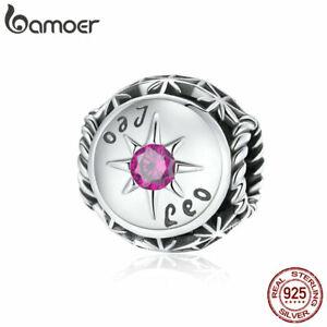 BAMOER European S925 Sterling silver Charms Purple CZ Leo Bead For Bracelets