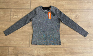 Superdry Womens Long Sleeve Metalic Silver Sparkle Knit Top Pullover Black XS 8